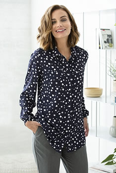 Lange blouse in crêpe met stretch, grafische print