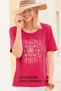 T-shirt broderie et strass coton stretch
