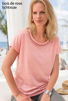 T-shirt in chinétricot met broderie