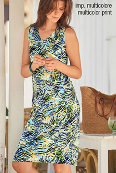 Robe Maille stretch imprimé tropical