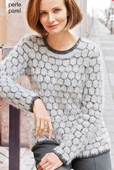 Pull harig jacquardtricot