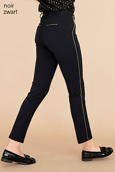 Pantalon 7/8ème maille crêpe stretch biais brillants