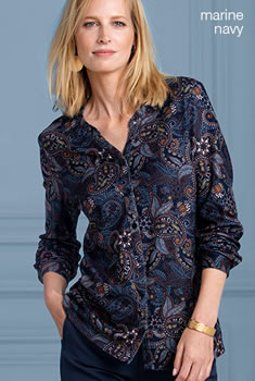 Blouse warm tricot, kasjmierprint