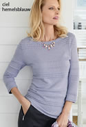 Pull maille fantaisie, manches 3/4