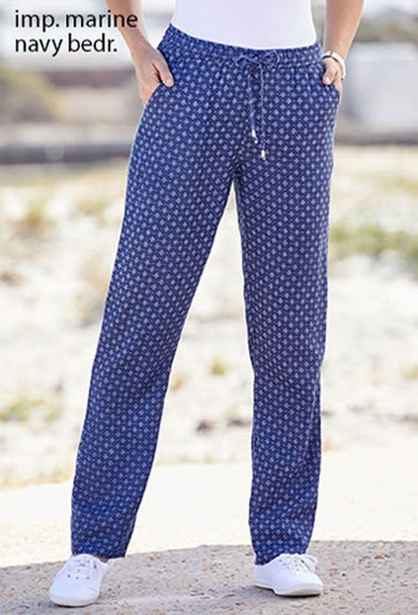 5dcfcb797073 Pantalon fluide imprimé taille élastiquée - Pantalons - Damart Belgique