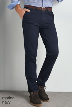 Pantalon chino gabardine coton stretch